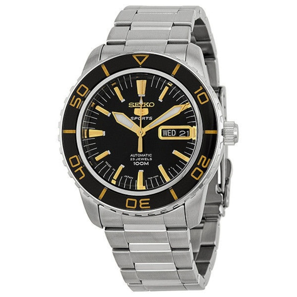 377016309 Seiko Accessories | 5 Sports Automatic Black Dial Mens Watch Snz ...